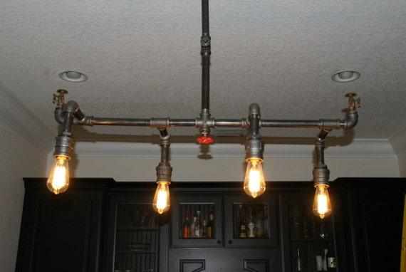 Industrial Pipe Fire Sprinkler Chandelier 4 Light Custom