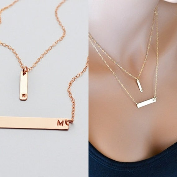 Rose gold bar necklace layered necklace initial by malizbijoux for Rose gold personalized jewelry