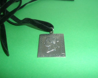 Silvertone Collectable One Penny Postage Stamp Pendant