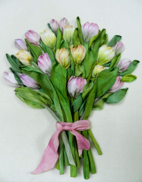 Bouquet of tulips silk ribbon embroidery