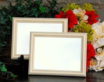 Shabby cottage chic photo frames: Set of 2 vintage antique ivory 5x7 hand-painted decorative wooden wall collage gallery picture frames