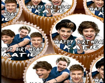 24 x Personalised 1d Cup Cake Toppers with Any Name Happy Birthday & One Direction Zane Louis Liam Niall Harry