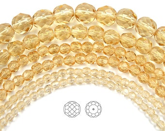 6mm (68pcs) Light Colorado Topaz, Czech Fire Polished Round Faceted Glass Beads, 16 inch strand