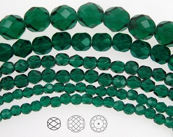 6mm (68pcs) Emerald, Czech Fire Polished Round Faceted Glass Beads, 16 inch strand