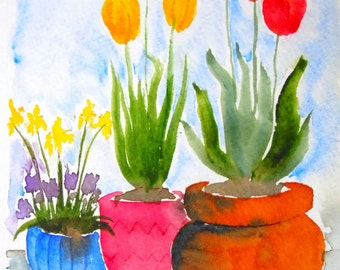 Tulip Pots Watercolor Notecard
