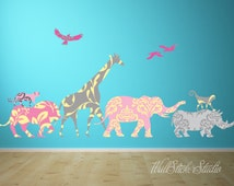 Jungle Patterned Decal. REUSABLE FABRIC Wall Decals, Peel and Stick Wall Decals, Eco-friendly