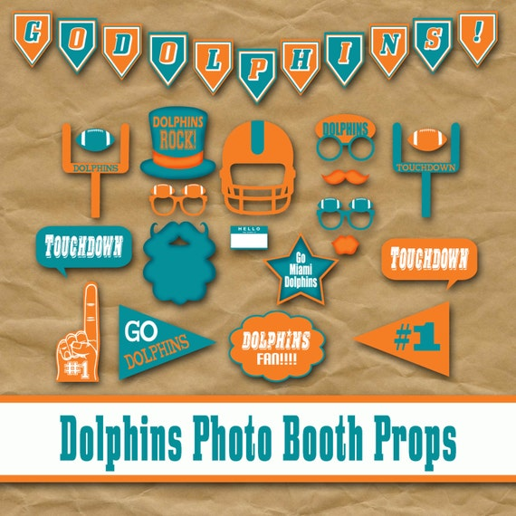 Miami Dolphins Football Printable Photo Booth Props