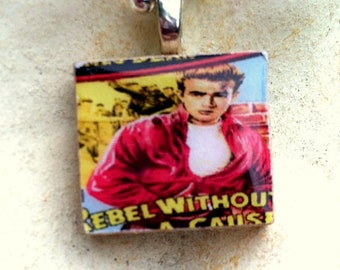 FREE SHIPPING! Scrabble Tile Necklace: Rebel Without A Cause