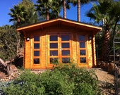 Guest house cabin, garden house, mans cave, office, green house, pool house, guest house, natural wood projects, playground, extra room,shed