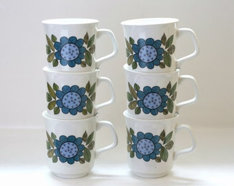 Vintage Set of 6 Tea Cups/Coffee Cups by J&G Meakin in Blue Floral 'Topic' Design / Retro Kitchenware