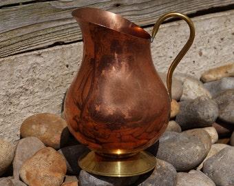 Copper & brass vase / pitcher || wide || simple design