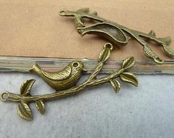 2pcs 25x60mm Antique Bronze Lovely Bird Charms Pendant c2551-15
