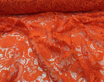 Orange Flower Guipure Embroider Lace. Sold By The Yard.36x45inches.