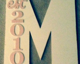 Single Letter Wood Monogram with Est Year