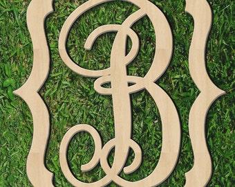 Single Letter Wooden Monogram Sign - Vintage Frame Border