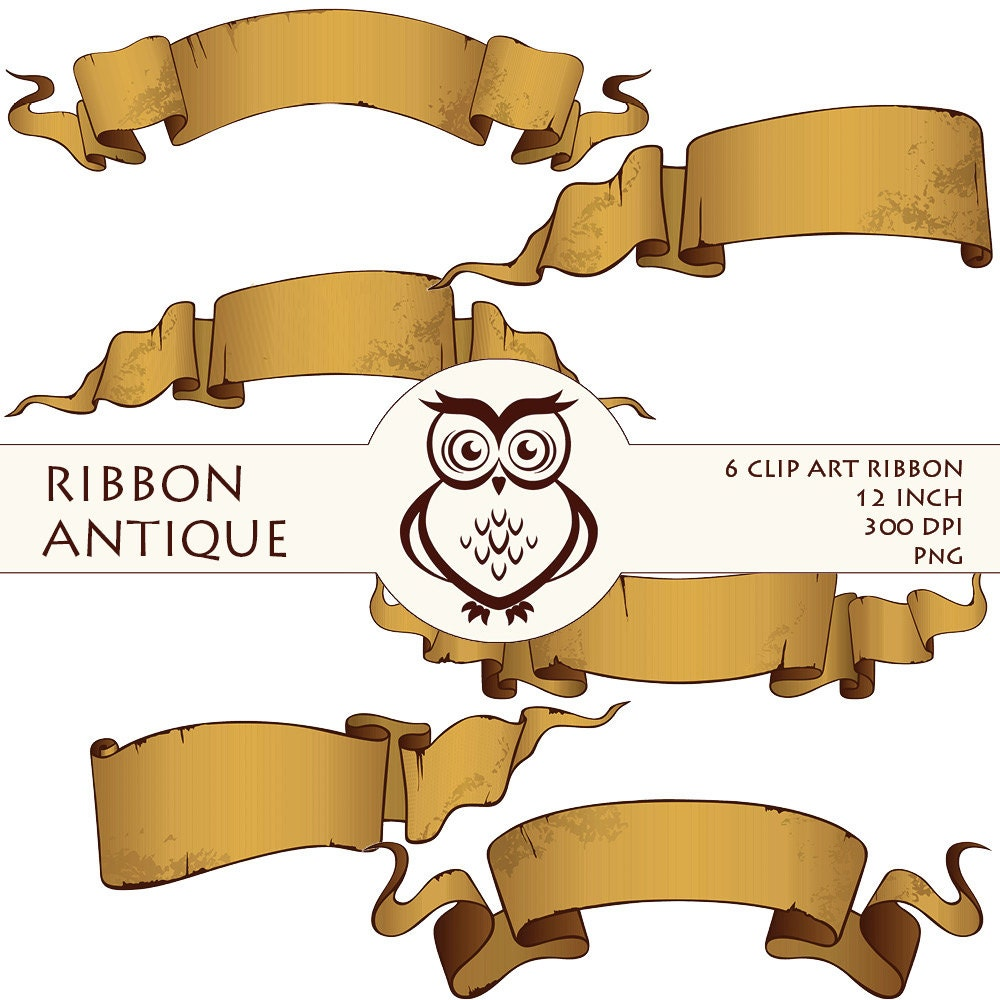 Digital ribbon clip art calligraphy by magicowldesign