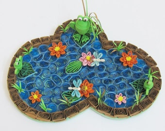 Quilling Paper Art:  FROG POND