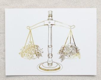 Zodiac - Libra Scales Foil Print