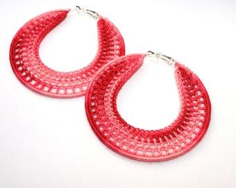 Handmade Earrings, Crocheted Hoops 70mm, Silver Plated, Round Dangle Earrings, Beaded, Lace, Dangling, Party Girl, Summer Heat