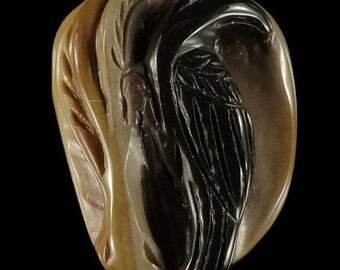 BF01302# Hand Carved Crow wild animal Succor Creek  Jasper Pendant Bead