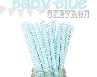 25 Baby Blue Chevron Retro Vintage Paper Drinking Straws