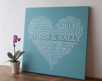 Personalised Word Art Wedding Heart Canvas