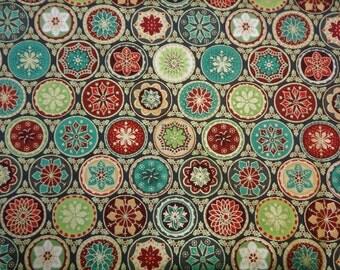 Green Multi Medallion Pattern Fabric  255