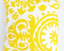 "Corn Yellow White Scrolls Floral Geometric Designer Lumbar Euro Sham Pillow Cover 14""x14"", 16""x16"", 18""x18"" Custom Size"