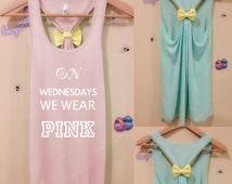 On wednesday we wear pink women Flowy Racerback tee T-Shirt Tank & BOW Flowy  bow tank Quality American Brand Apparel