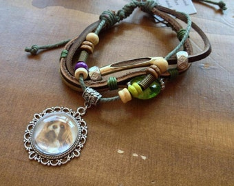 Handmade Bracelet with picture charm.