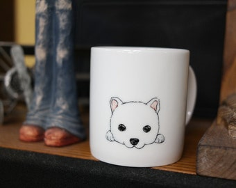 Hand painted animal mug cup - Cute mug cup -  dog mug cup 2