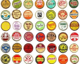 1.5 inch Vintage Soda Bottlecaps - Clip Art - Digital Collage Sheet - Printable - Instant Download