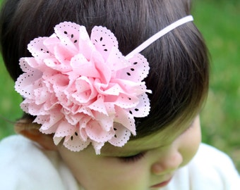 Baby girl headband-choose 1-pink or white headband-newborn headband-headbands-photo prop-headbands for baby-flower headband-headband