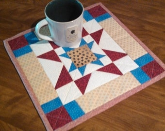 Quilted mug rug, coffee trivet, small handmade quilt, mug rug, gifts under 20