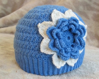 Crochet Girl Hat, Blue Hat