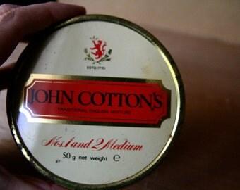 Red Tin. John Cotton's. Metal box. round tin