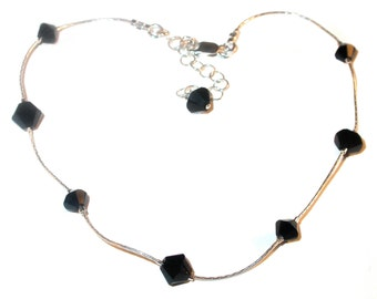 JET BLACK Crystal Anklet Sterling Silver Handcrafted Ankle Bracelet Swarovski Elements
