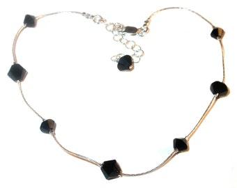 JET BLACK Crystal Anklet Sterling Silver Handcrafted Ankle Bracelet Swarovski Elements