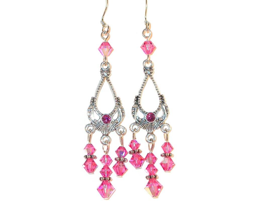Long ROSE PINK Crystal Chandelier Earrings Swarovski Elements