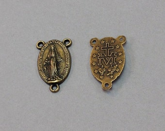 Free Shipping Antique Brass Miraculous Medal Rosary Center Piece