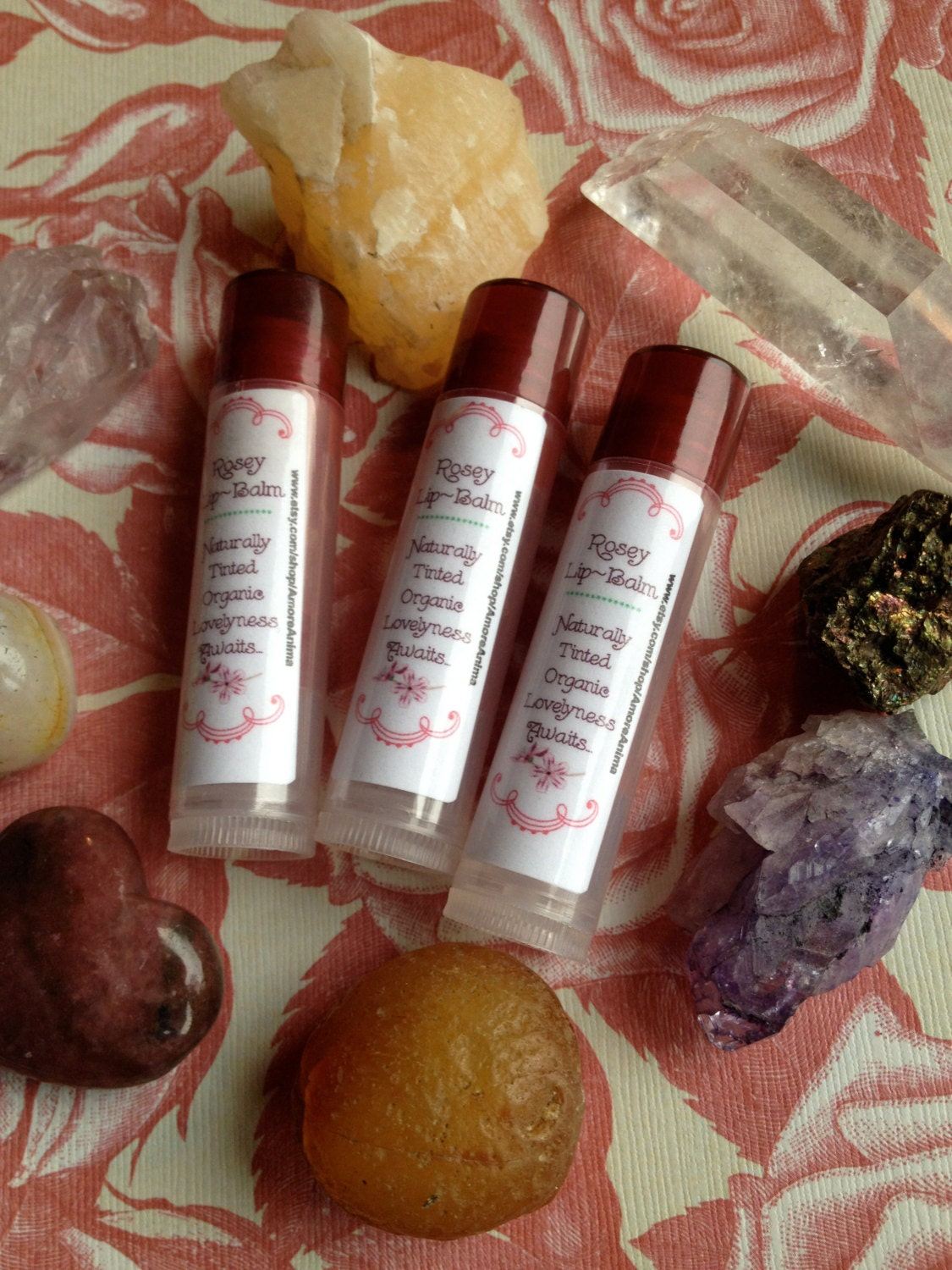 Lip Stain Rosey lips Elderberry, Peppermint & Orange naturally tinted