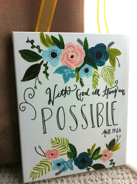 Items similar to hand painted inspirational bible verse for Inspirational quotes painted on canvas