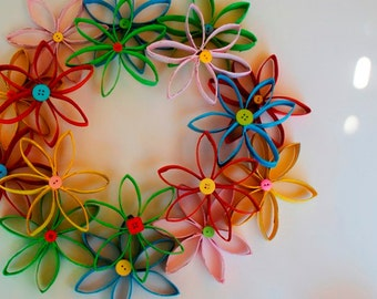 Rainbow Coiled Paper Wreath