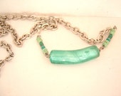 Vintage aqua striped resistor glass bead recycled necklace steam punk geek