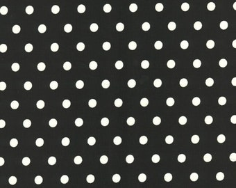 "Polka Dots BLACK 100% Cotton Poplin ~ 44"" Wide ~ Sold by the Yard"