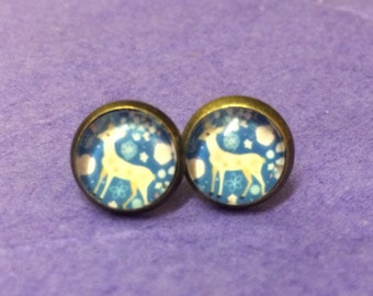 Blue bambi deer animal kitsch quirky stud earrings esty uk
