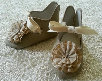"Jumeau Style 3 1/4"" Beige Suede Doll Shoes with Rosettes & Silk Bows"