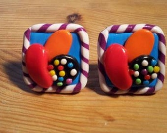 Candy Crush Saga Inspired Cufflinks Handmade.