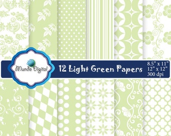 Light Green, digital paper set of 12, personal or commercial use, scrapbook papers, background, INSTANT DOWNLOAD