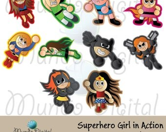 10 Superhero Girls in Action Digital Clip Art for Scrapbooking Card Making Cupcake Toppers Paper Crafts